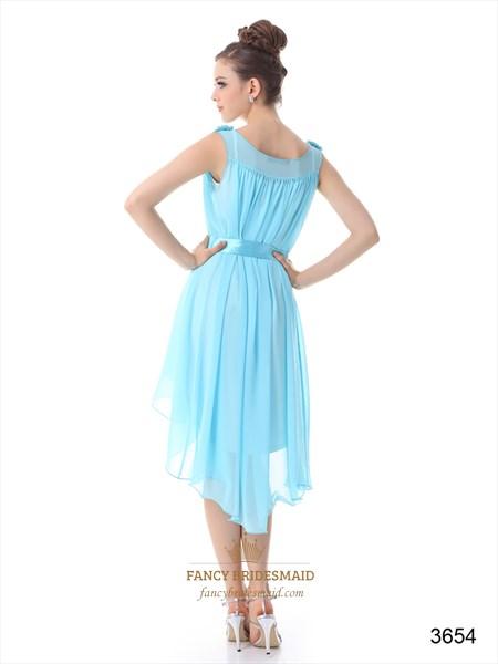 Chiffon High Low Cocktail Dress, V Neck Chiffon Formal Dress