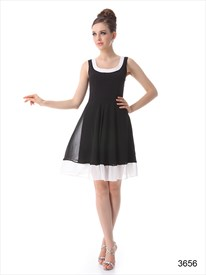Black And Ivory Cocktail Dress, Chiffon Square Neck Smock Dress