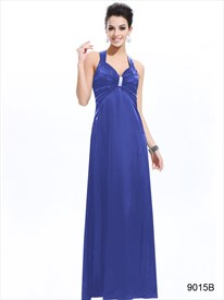 Royal Blue Empire Waist Dresses, Criss Cross Open Back Prom Dress