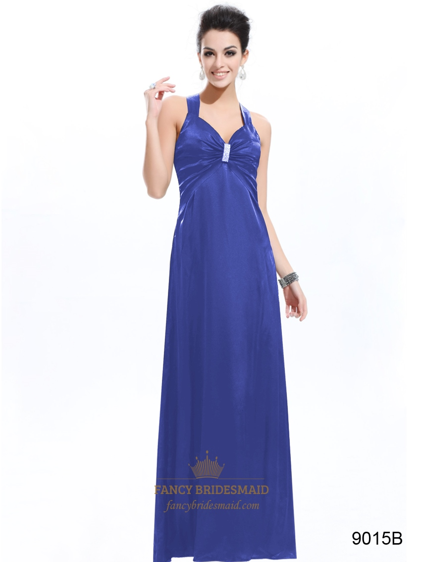 Royal Blue Empire Waist Dresses V Neck Open Back Prom