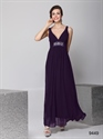Long Purple Chiffon Bridesmaid Dress, Chiffon V Neck Bridesmaid Dress