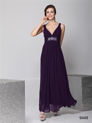 Long Purple Chiffon Bridesmaid Dress, Chiffon V Neck Bridesmaid Dress