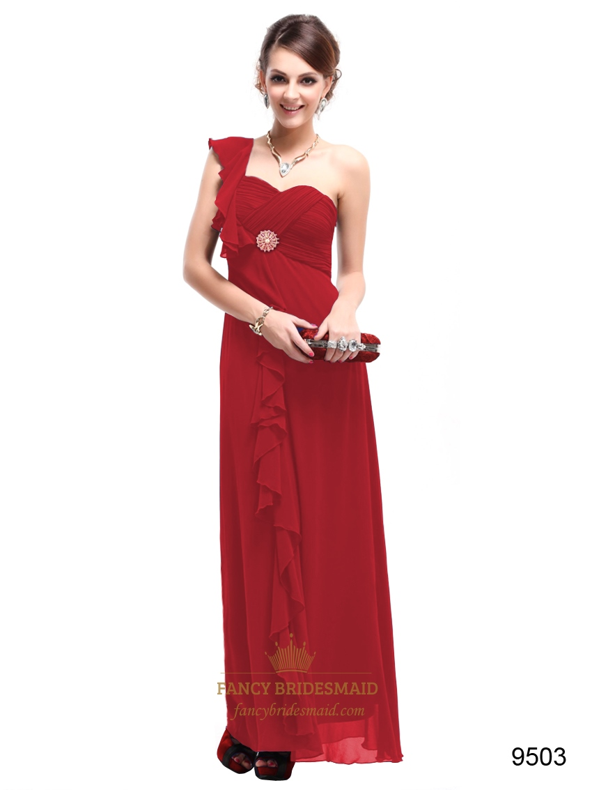 Red Chiffon One-Shoulder Sweetheart Empire Waist Long Bridesmaid Dress