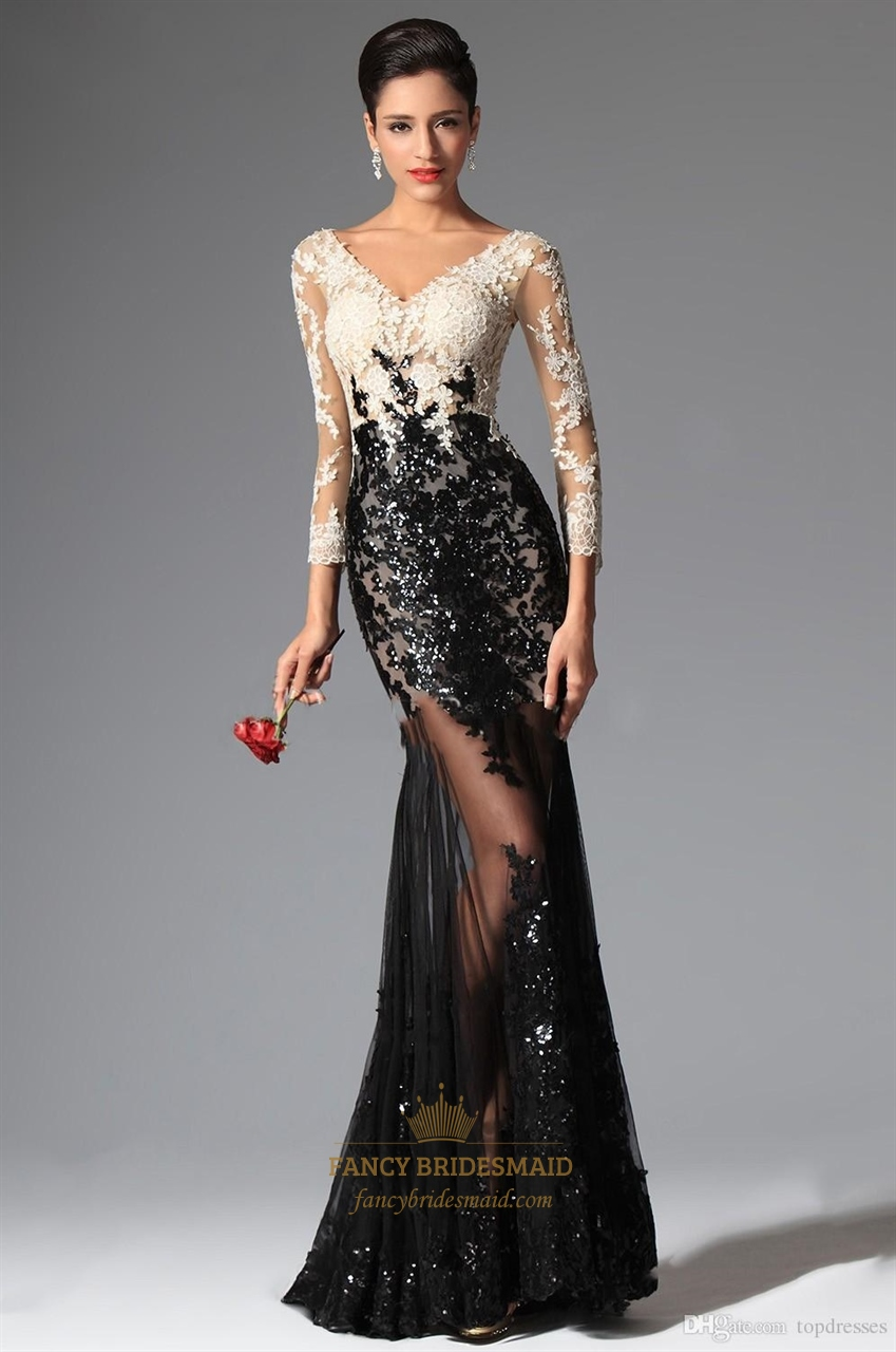 6b1b3bb01471 Sexy Black And White Lace Mermaid V Neck Crop Top Prom Dress | Fancy ...