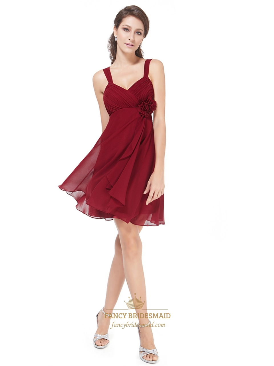 502d06ad5b8 Ruched Bodice Chiffon A-Line Short Bridesmaid Dress With Straps. Product  Photos. Color