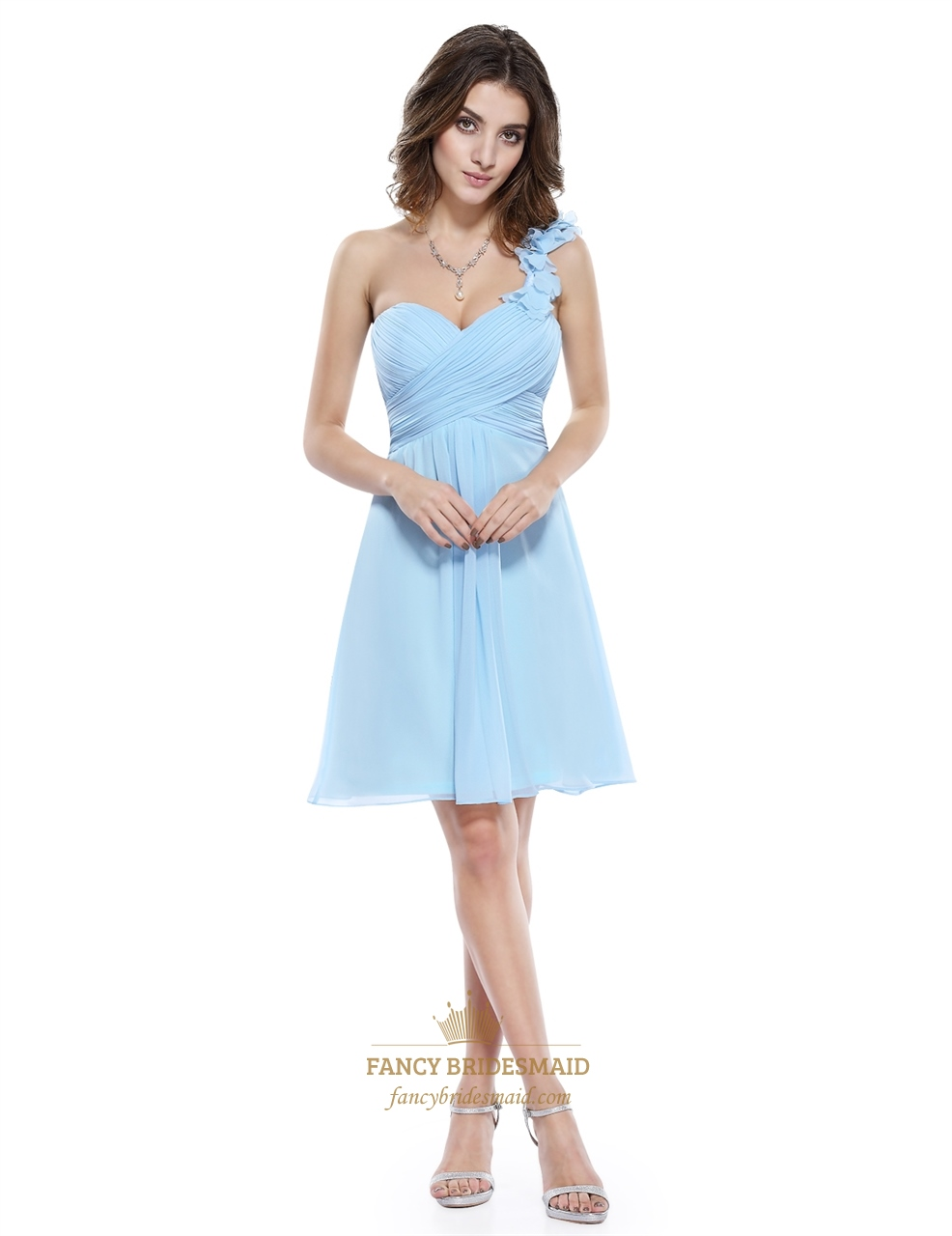 6f9d4c7c59c Ruched Bodice One Shoulder Bridesmaid Dress Short With Flower Strap. Product  Photos. Color