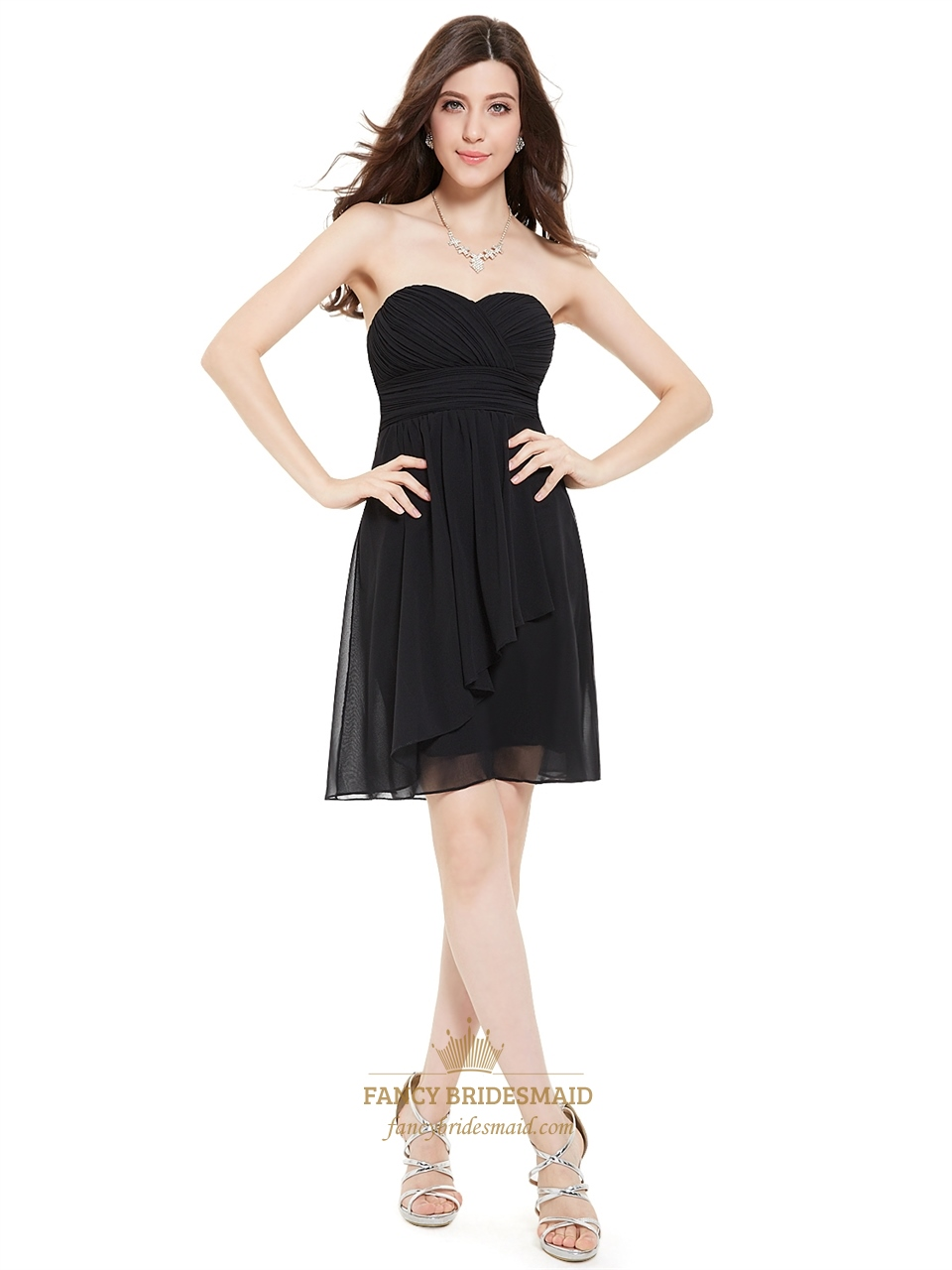 403aaa48bd Black Strapless Empire Ruched Cocktail Dress Short With Front Cascade SKU  -X008