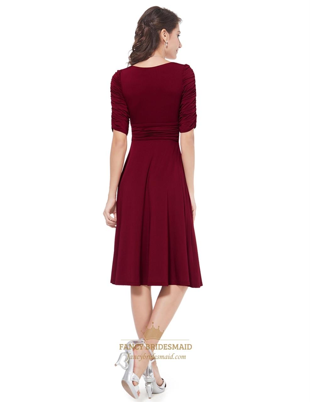 Burgundy Burgundy V Neck Half Sleeve Ruched Short Women S