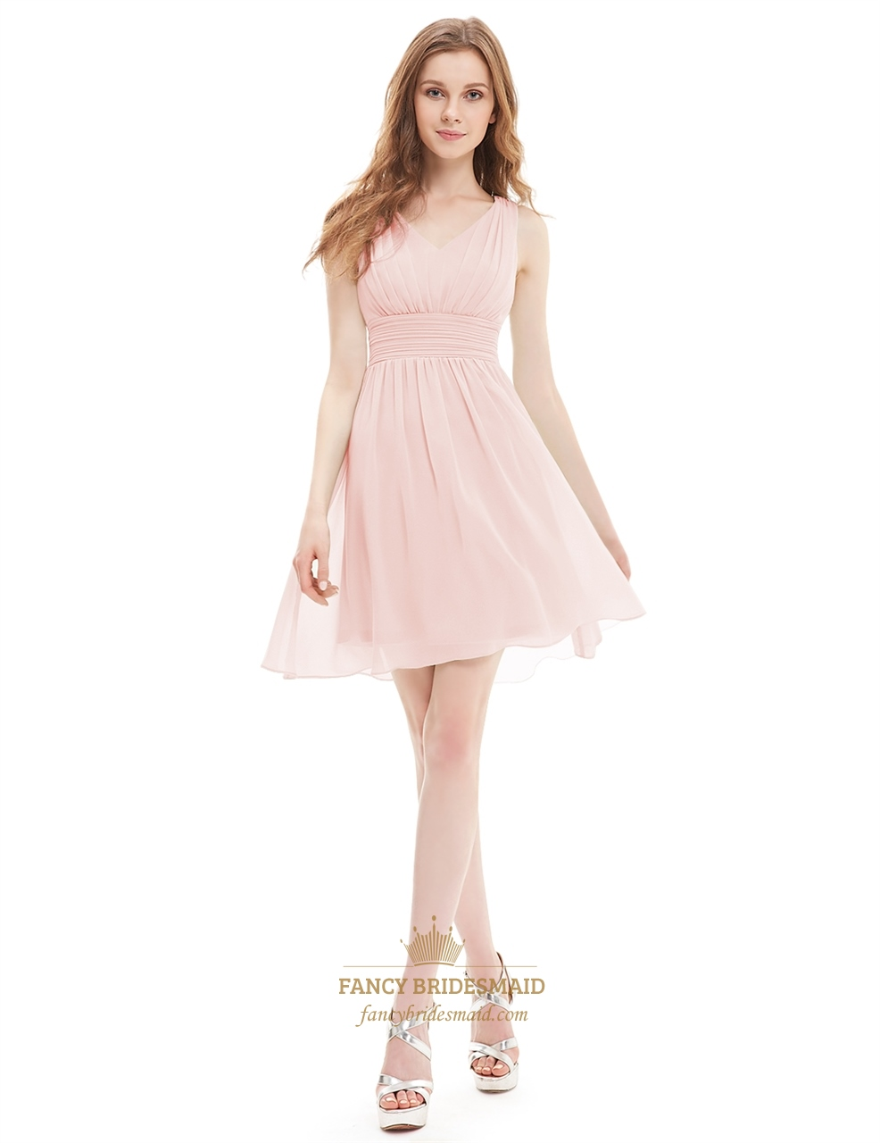 263ee1bf6b59 Blush Pink A-Line Sleeveless V-Neck Ruched Chiffon Knee Length Cocktail  Dress SKU -X015