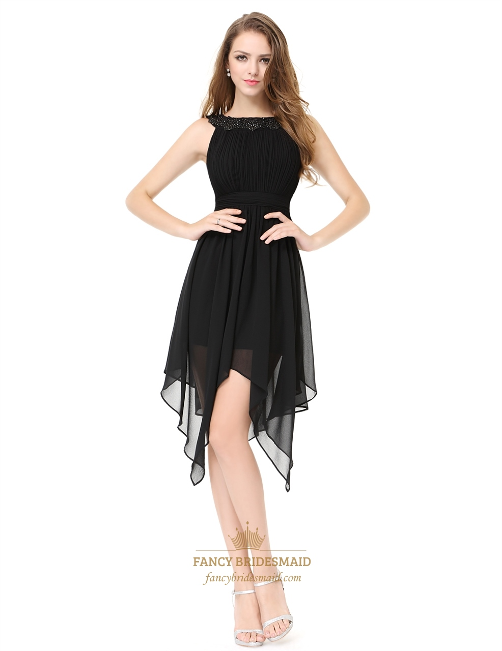 895a457c8 Sleeveless Crinkle Chiffon Beaded High Low Cocktail Dress. Product Photos.  Color