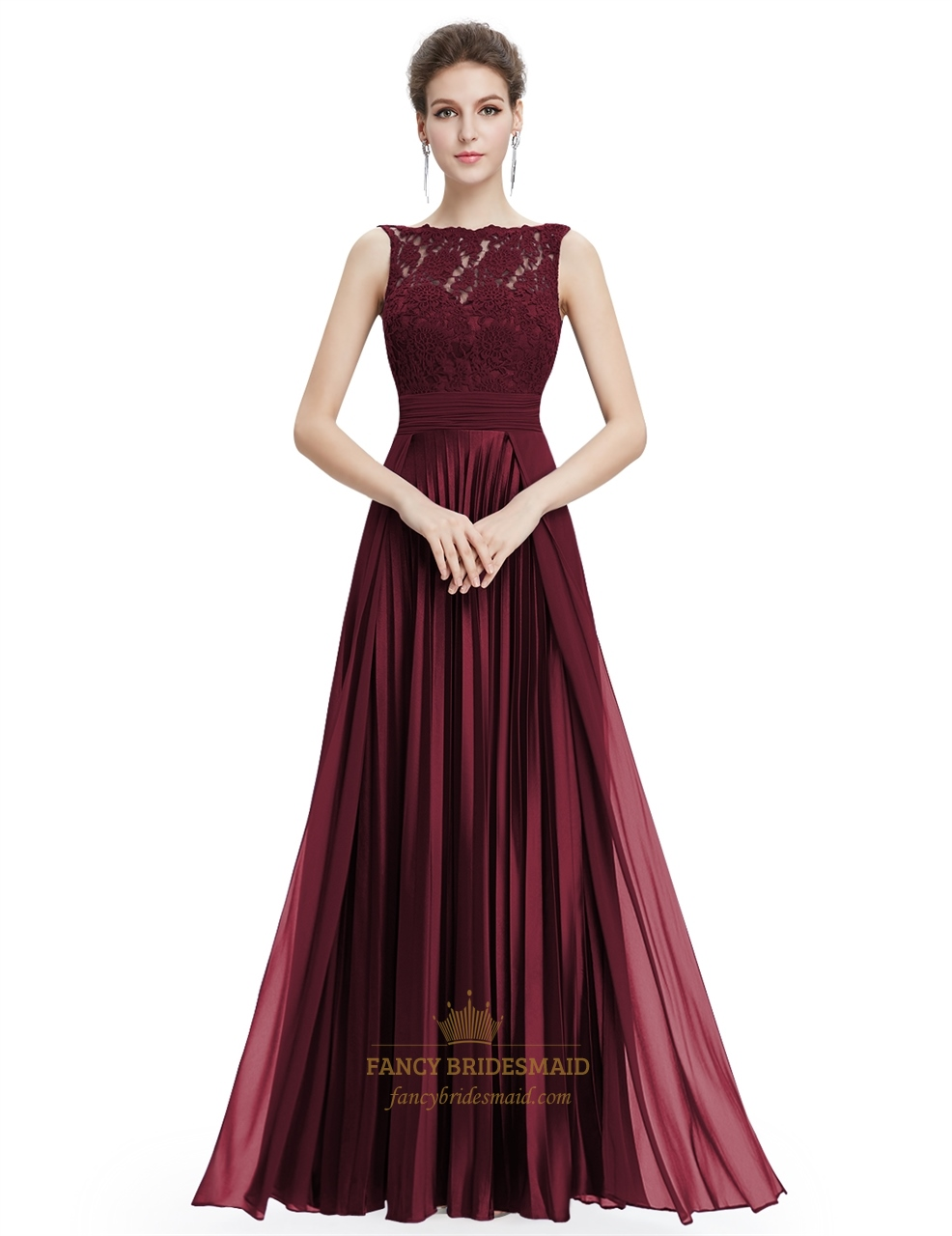 Burgundy Lace Bodice Chiffon Skirt A Line Ruched Long Prom ...