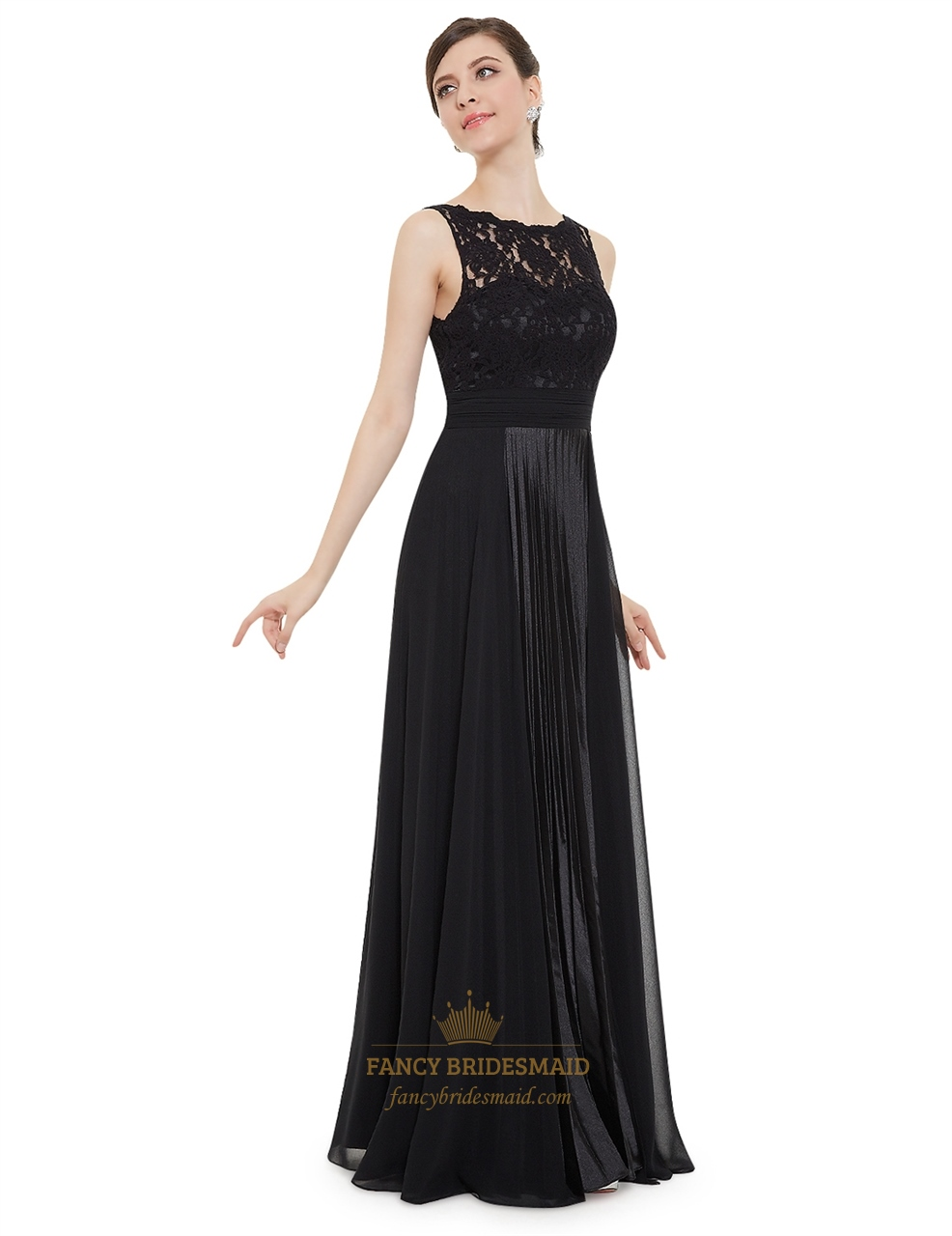 Black Lace Bodice Chiffon Skirt A Line Ruched Long Prom ... - photo #48