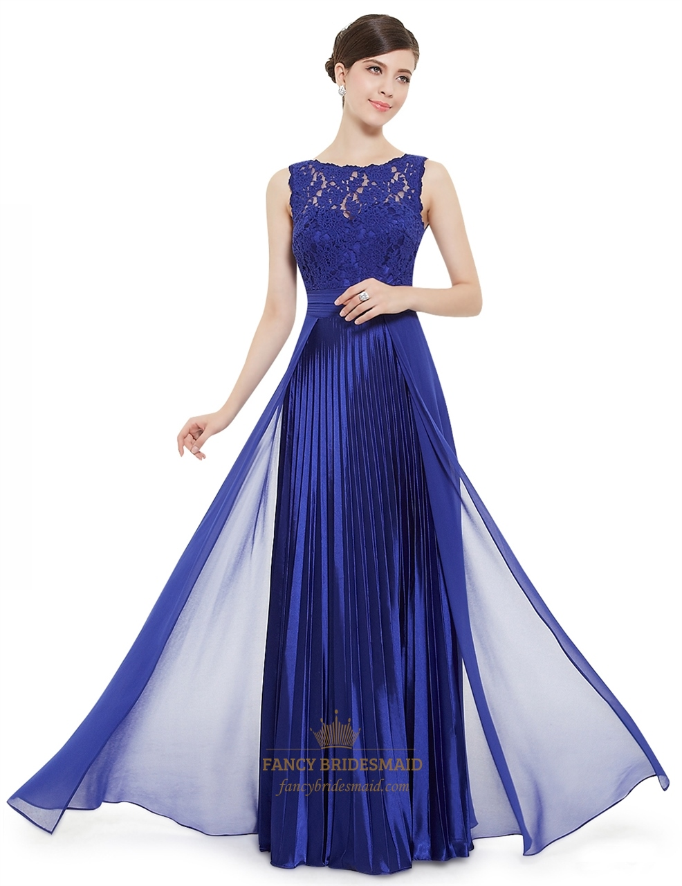 145c003944 Royal Blue Lace Bodice Chiffon Skirt A Line Ruched Long Prom Dress ...