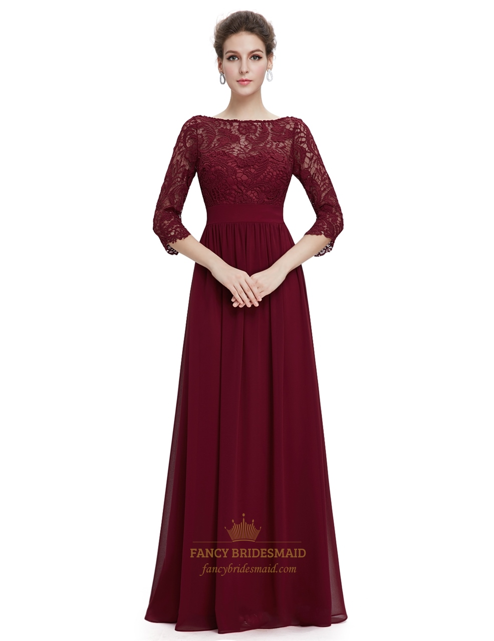 Burgundy Lace Top Chiffon Bottom 3/4 Sleeve A-Line Prom ...