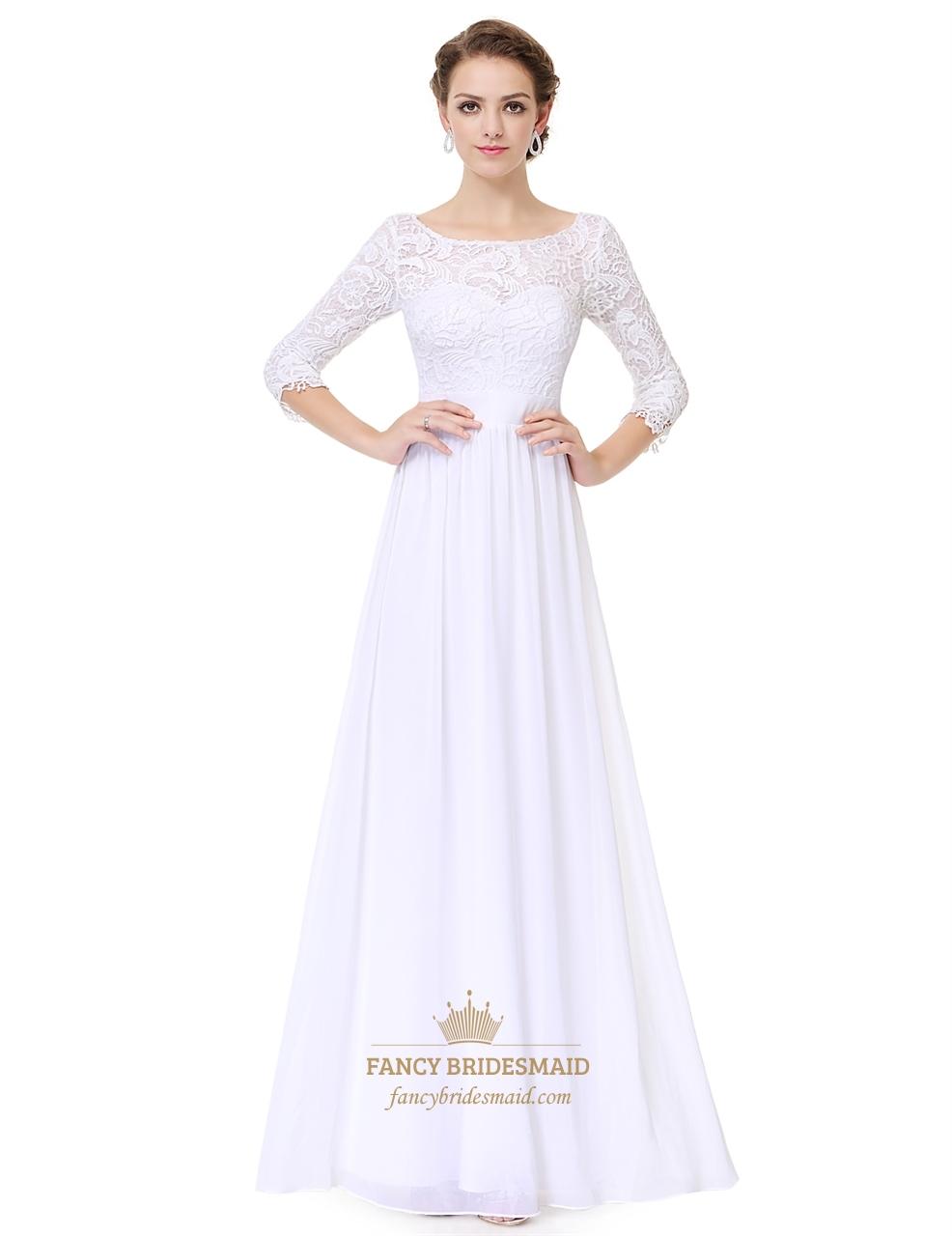 White Lace Top Chiffon Bottom 3/4 Sleeve A-Line Prom Dress ...