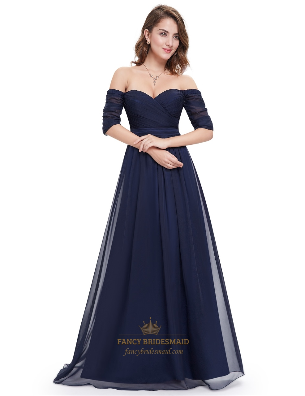 navy blue off the shoulder ruched evening gowns long with sleeves fancy bridesmaid dresses. Black Bedroom Furniture Sets. Home Design Ideas
