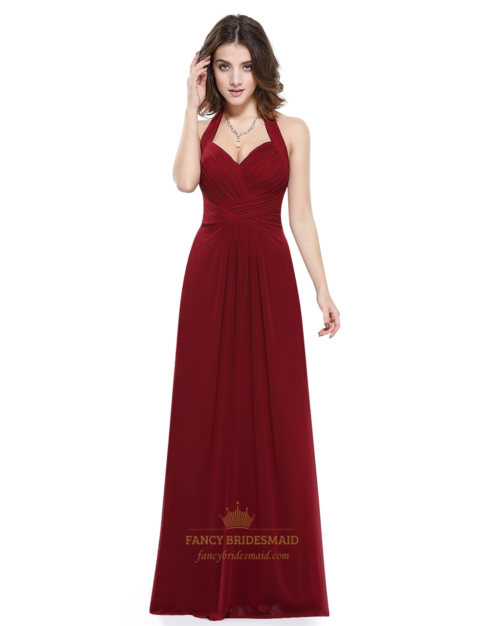 Burgundy Halter Sweetheart Ruched Bodice Backless Chiffon