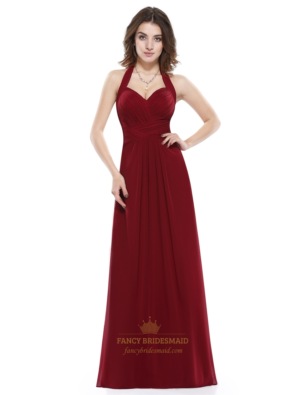 Burgundy halter sweetheart ruched bodice backless chiffon for Sweetheart halter wedding dress