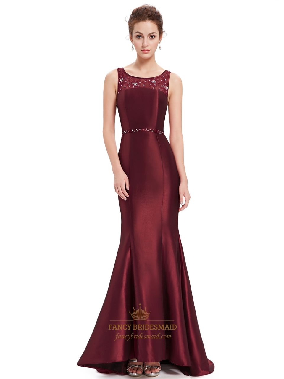 Burgundy Beaded Mermaid Long Evening Gown With Lace