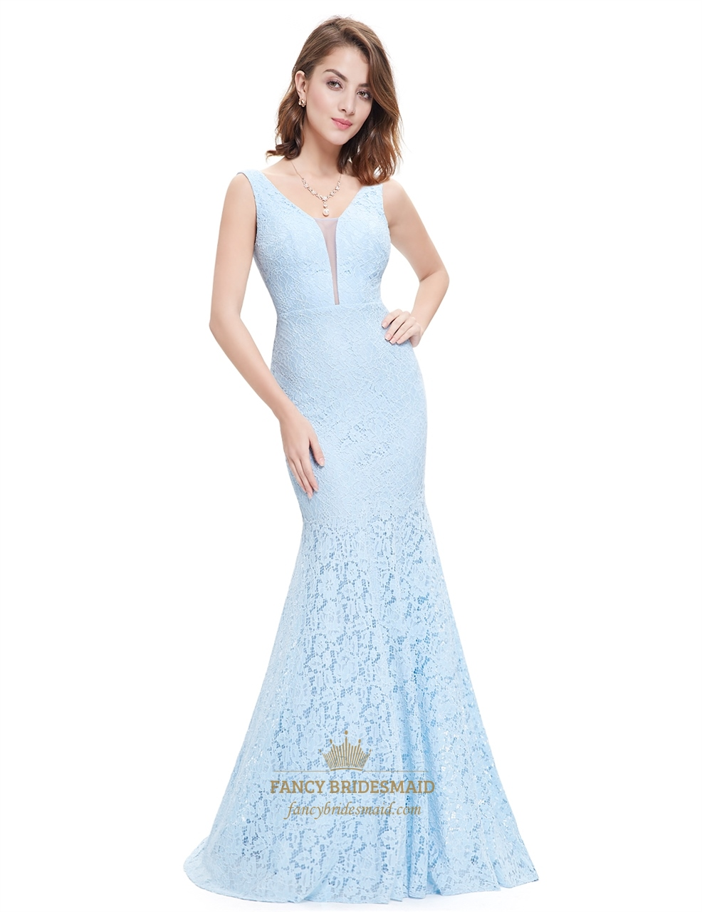 light blue sheer top sleeveless v neck lace mermaid evening dress fancy bridesmaid dresses. Black Bedroom Furniture Sets. Home Design Ideas