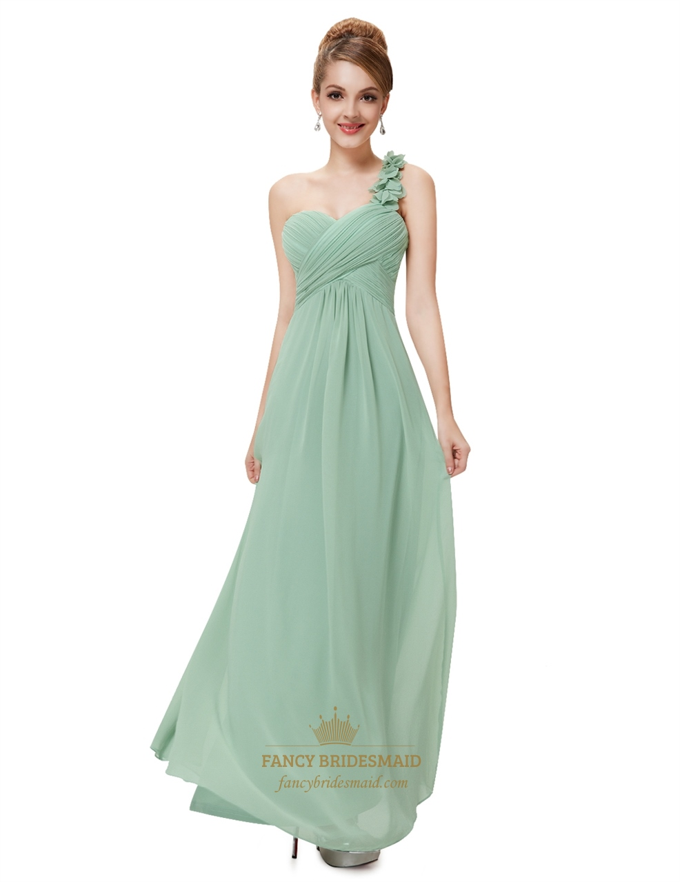 Mint Green One Shoulder Ruched Empire Waist Bridal Dress With Flower ...