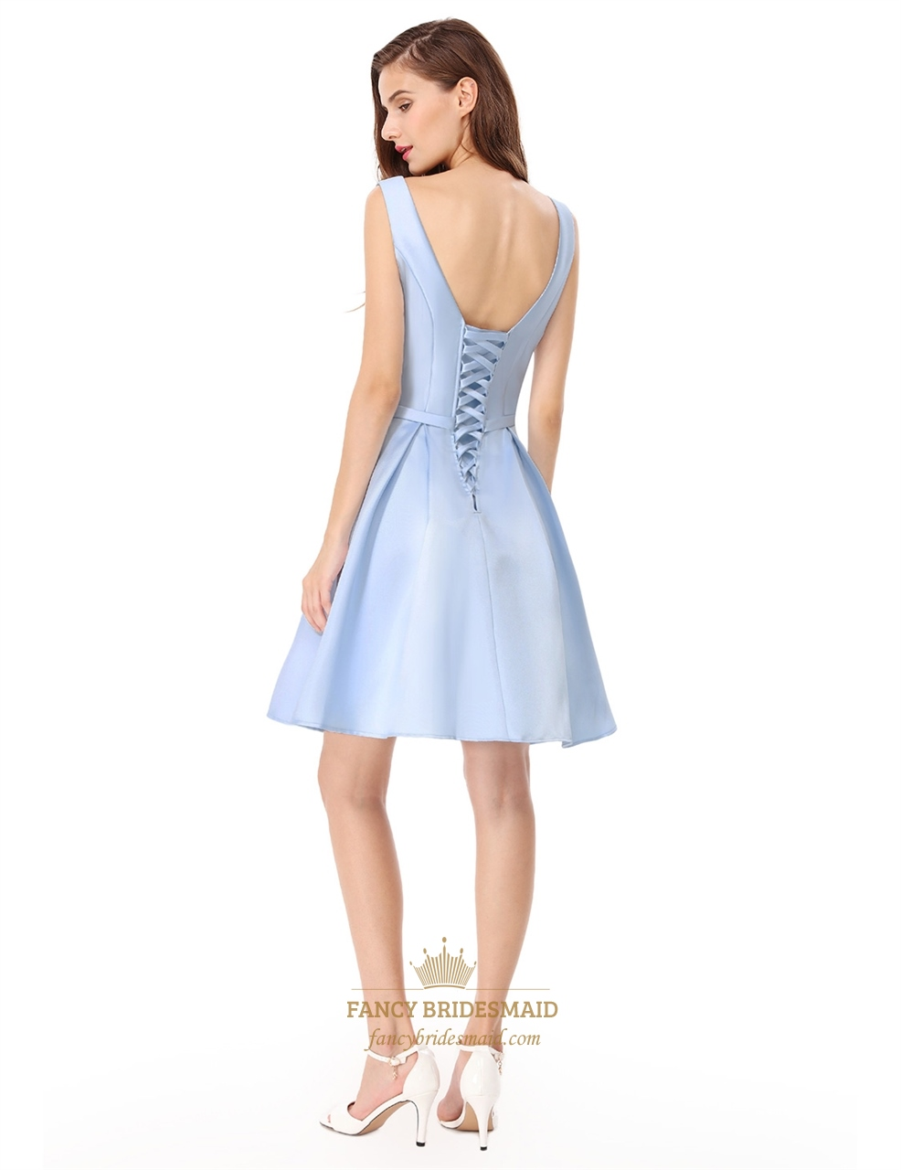 2c1265e4cb9 V Neck Sleeveless Knee Length Fit And Flare Cocktail Dress With Bow ...
