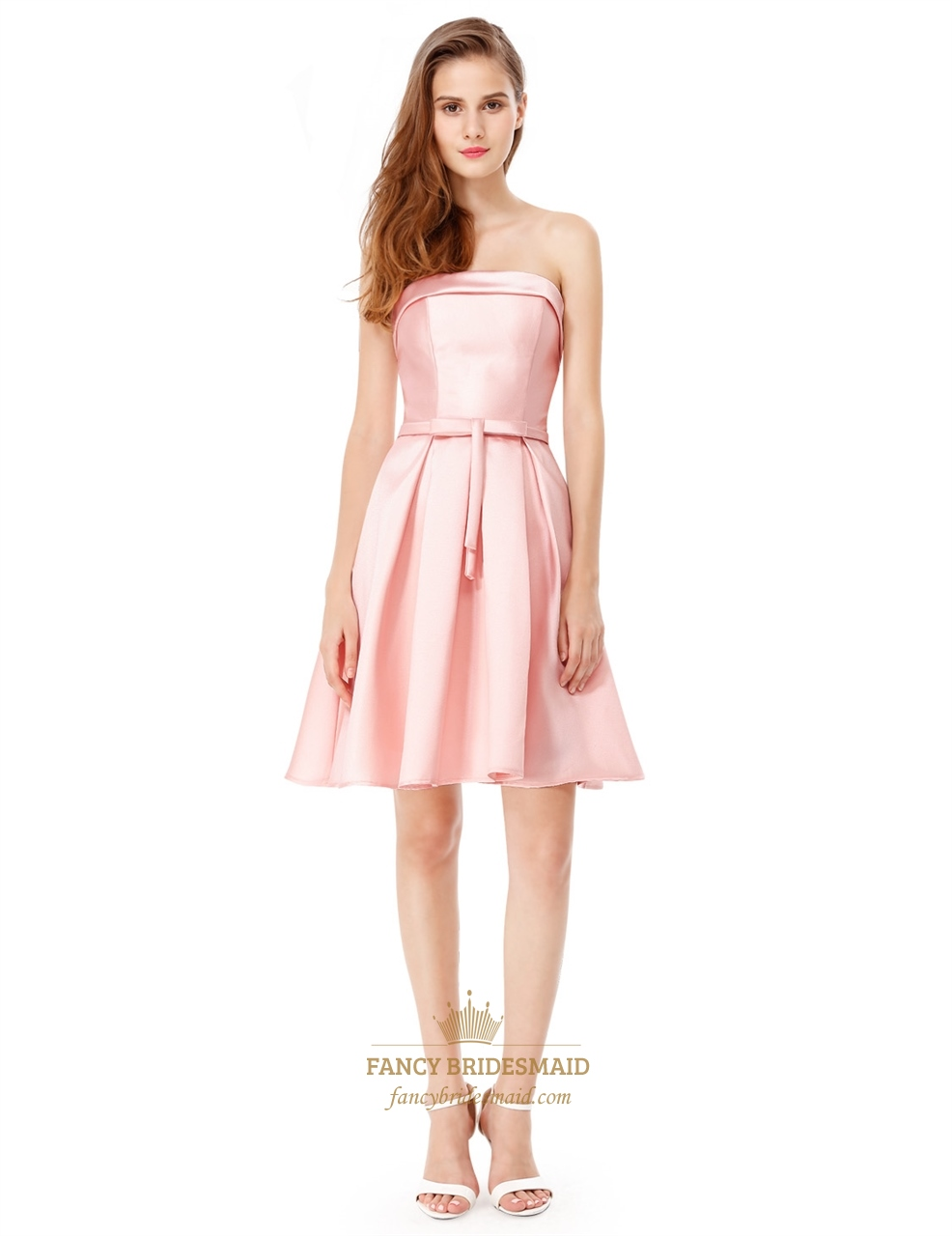 Strapless Lace Up Fit And Flare Cocktail Party Dress With