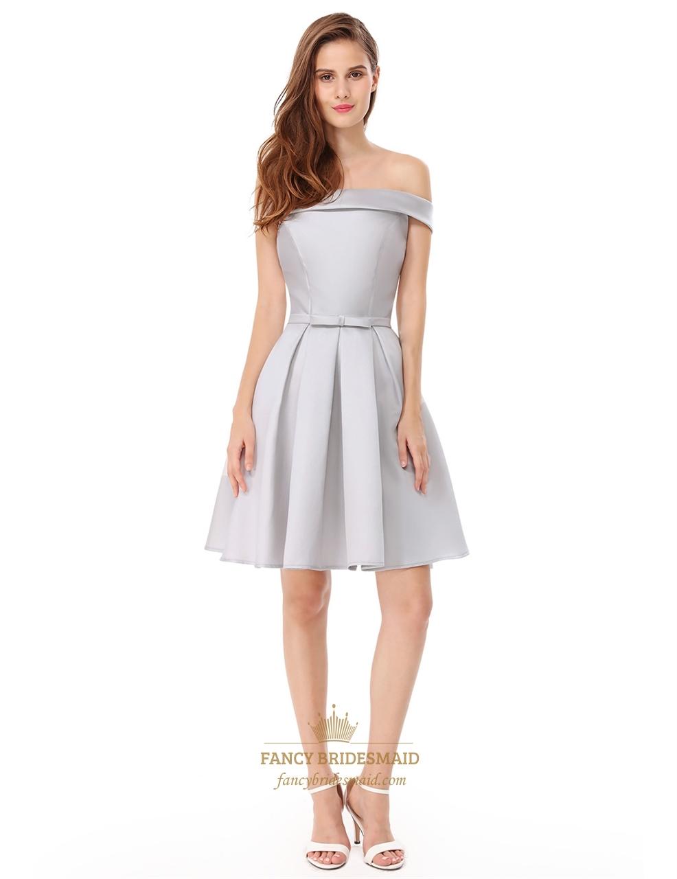 Elegant Off The Shoulder Fit And Flare Knee Length Cocktail Dress ...