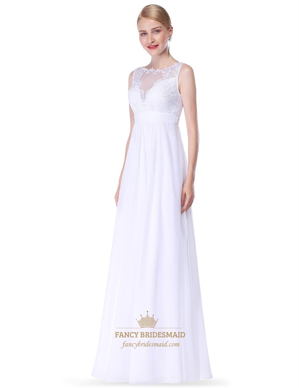 59ef247dfd549 Illusion Lace Bodice Chiffon Skirt Sleeveless Long Bridesmaid Dress.  Product Photos. Color