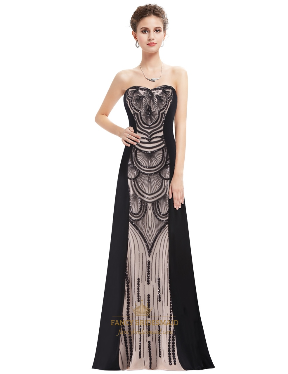 Strapless Sweetheart Sequin Embellished Floor Length