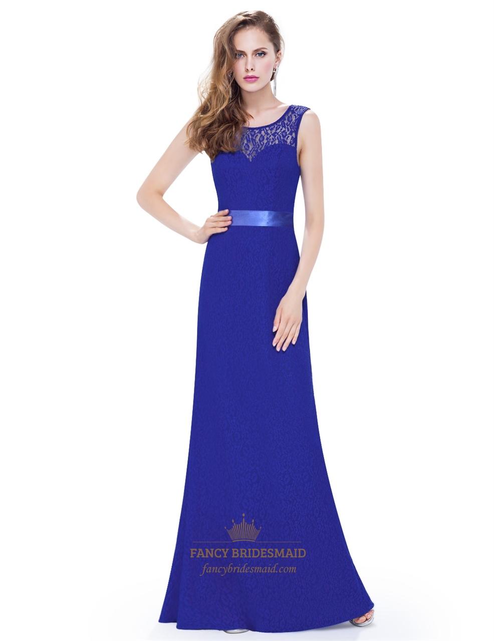 Royal Blue Lace Open Back Long Bridesmaid Dress With Satin Ribbon ...