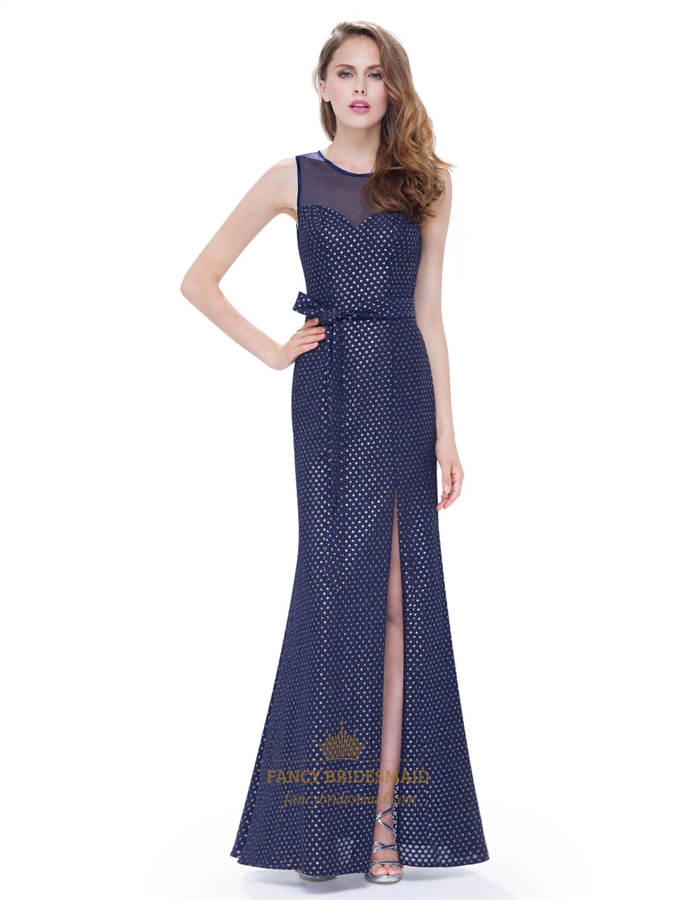638eda01888d Navy Blue Polka Dot Open Back Chiffon Prom Dress With Side Cut Out SKU -X085