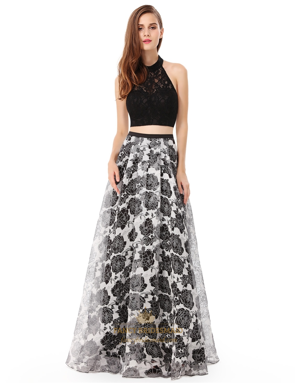 Halter Top Lace Bodice Two Piece Floral Print Skirt Prom Dress ...