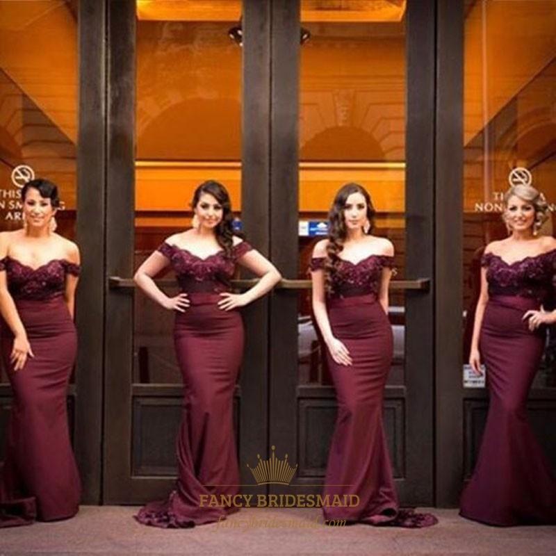 9139545154 Burgundy Off The Shoulder Lace Bodice Chiffon Mermaid Bridesmaid Dress SKU  -FC013