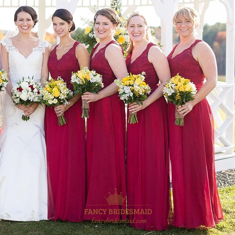 467f7efa56c2d Burgundy Sleeveless V-Neck Chiffon Bridesmaid Dress With Keyhole Back
