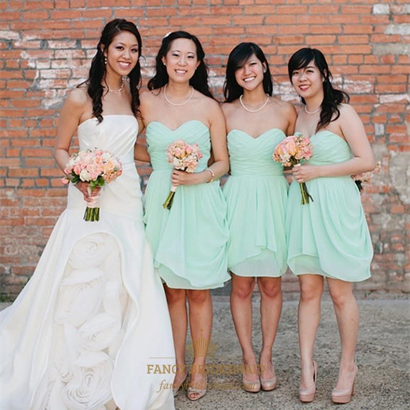 36eb05bb4f5 Simple Cute Mint Green Strapless Knee Length Chiffon Bridesmaid Dress SKU  -FC032