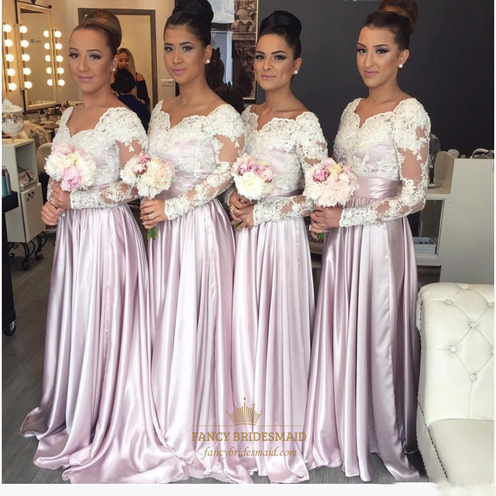 Dresses with long sleeves fancy bridesmaid dresses illusion long sleeve lace bodice a line floor length bridesmaid dress ombrellifo Image collections