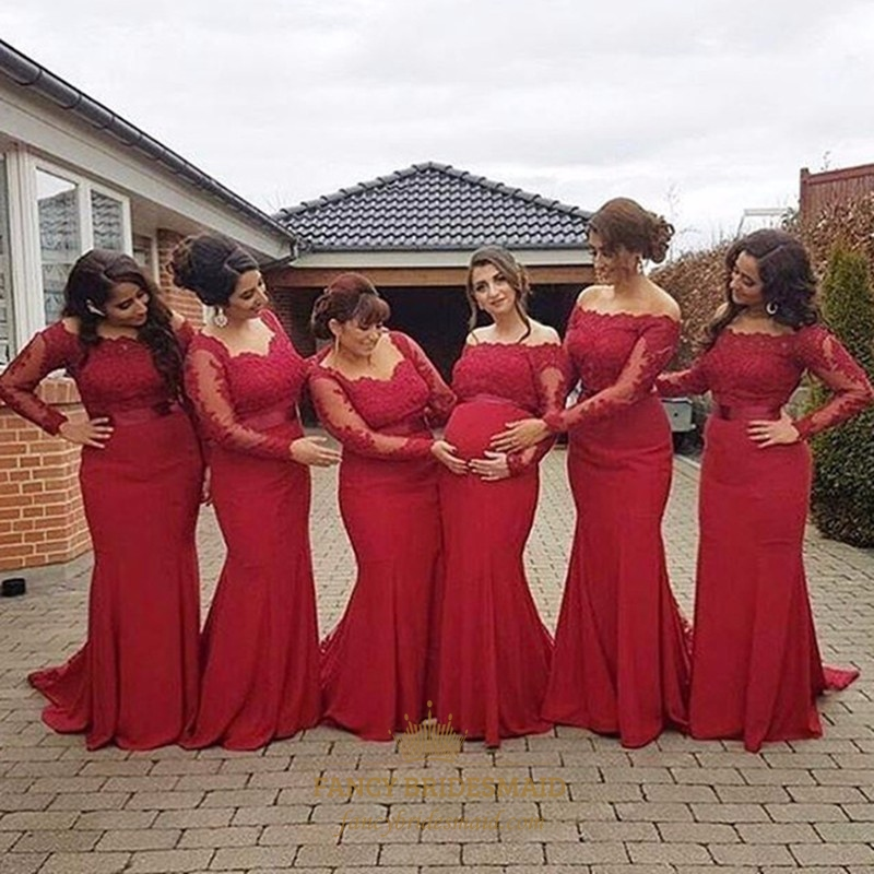 e537974bde83 Red Off The Shoulder Long Sleeve Lace Bodice Chiffon Bridesmaid Dress SKU  -FC046