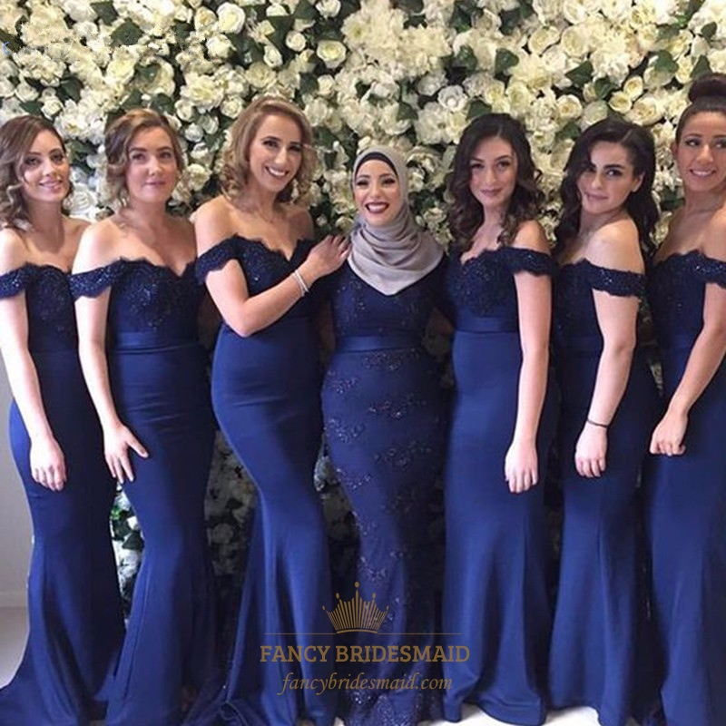 96003825cf2 Navy Blue Off The Shoulder Lace Embellished Mermaid Bridesmaid Dress SKU  -FC047