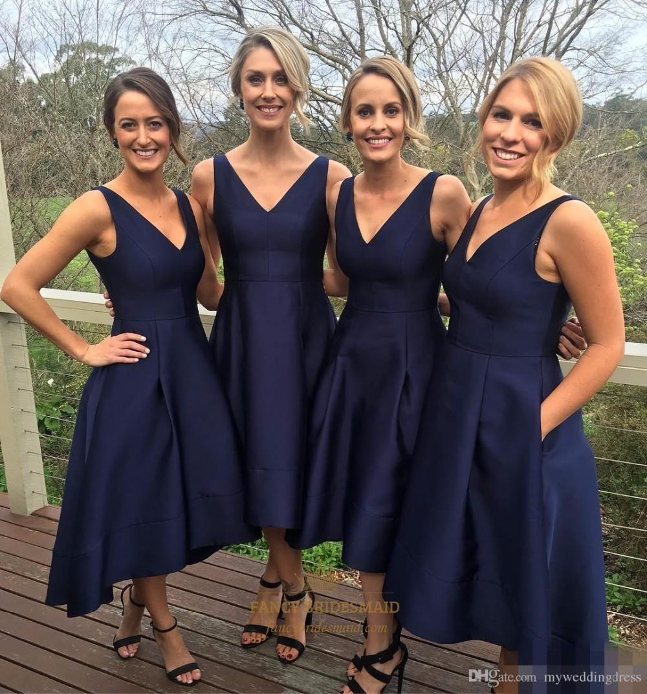 37e31a243be Elegant Simple Navy Blue Sleeveless V-Neck Tea Length Bridesmaid Dress SKU  -FC052