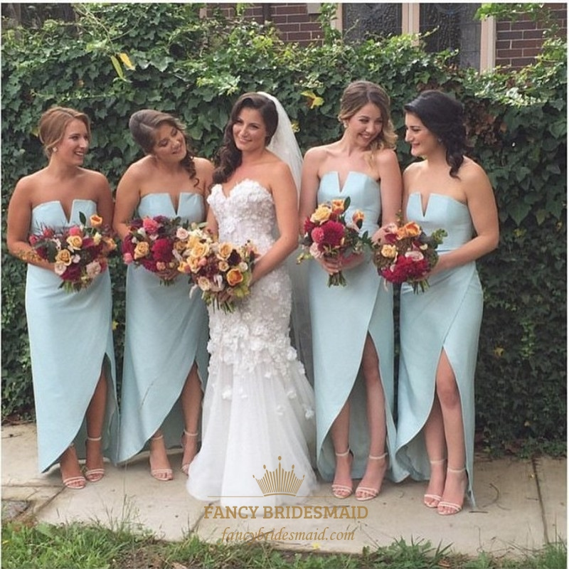 Light Blue Strapless High Low Floor Length Chiffon Bridesmaid Dress