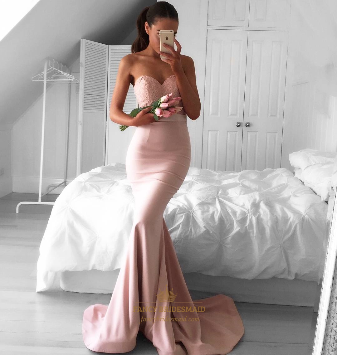 ae87d090af3e Light Pink Strapless Sweetheart Lace Bodice Mermaid Bridesmaid Dress SKU  -FC078