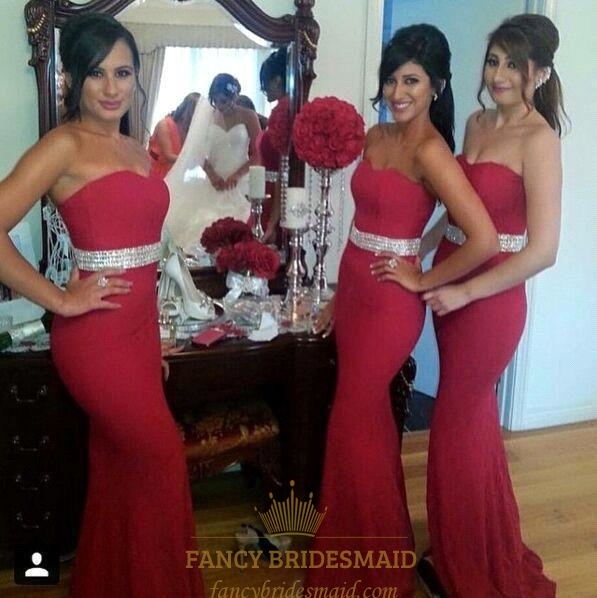Red Strapless Floor Length Mermaid Bridesmaid Dress With Beaded Waist