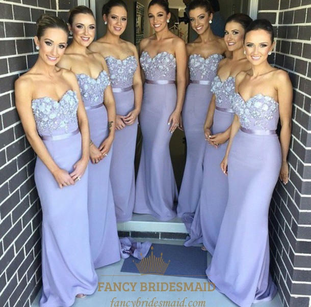 Satin Lavender Bridesmaid Dresses