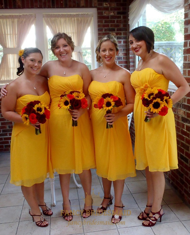 Sunflower Yellow Chiffon Strapless Empire Waist Short Bridesmaid Dress
