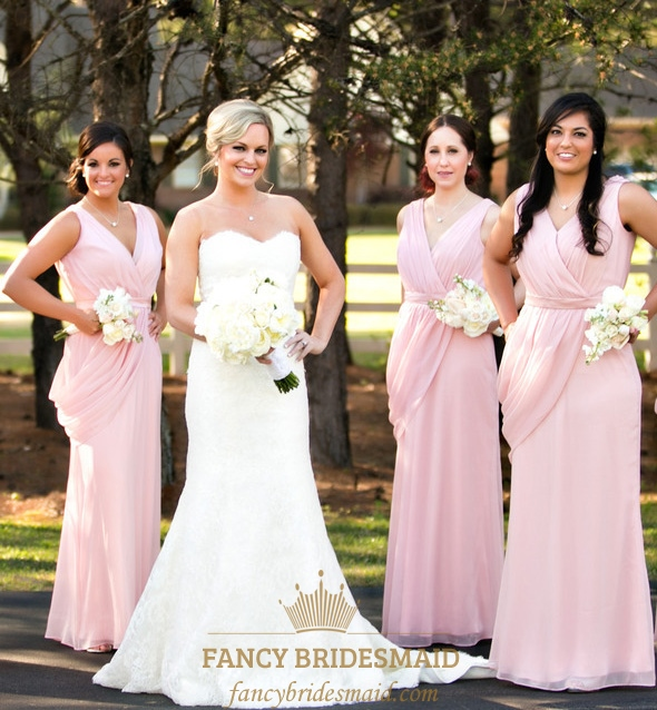 96495a4c83 Pink A-Line V-Neck Floor-Length Chiffon Bridesmaid Dress With Ruching SKU  -FC160