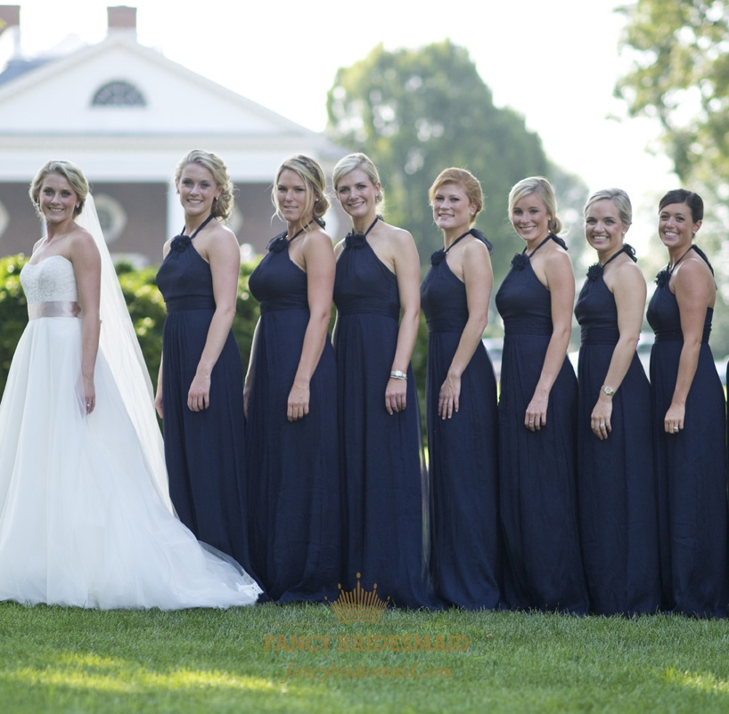 Navy Bridesmaid Dresses   Navy Blue Halter Chiffon Bridesmaid Dress With Flower Embellishment