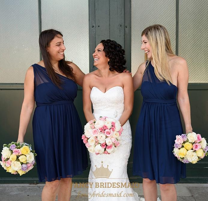 68d9b1bfbb Knee Length Navy Blue One Shoulder Chiffon A-Line Bridesmaid Dress SKU  -FC162