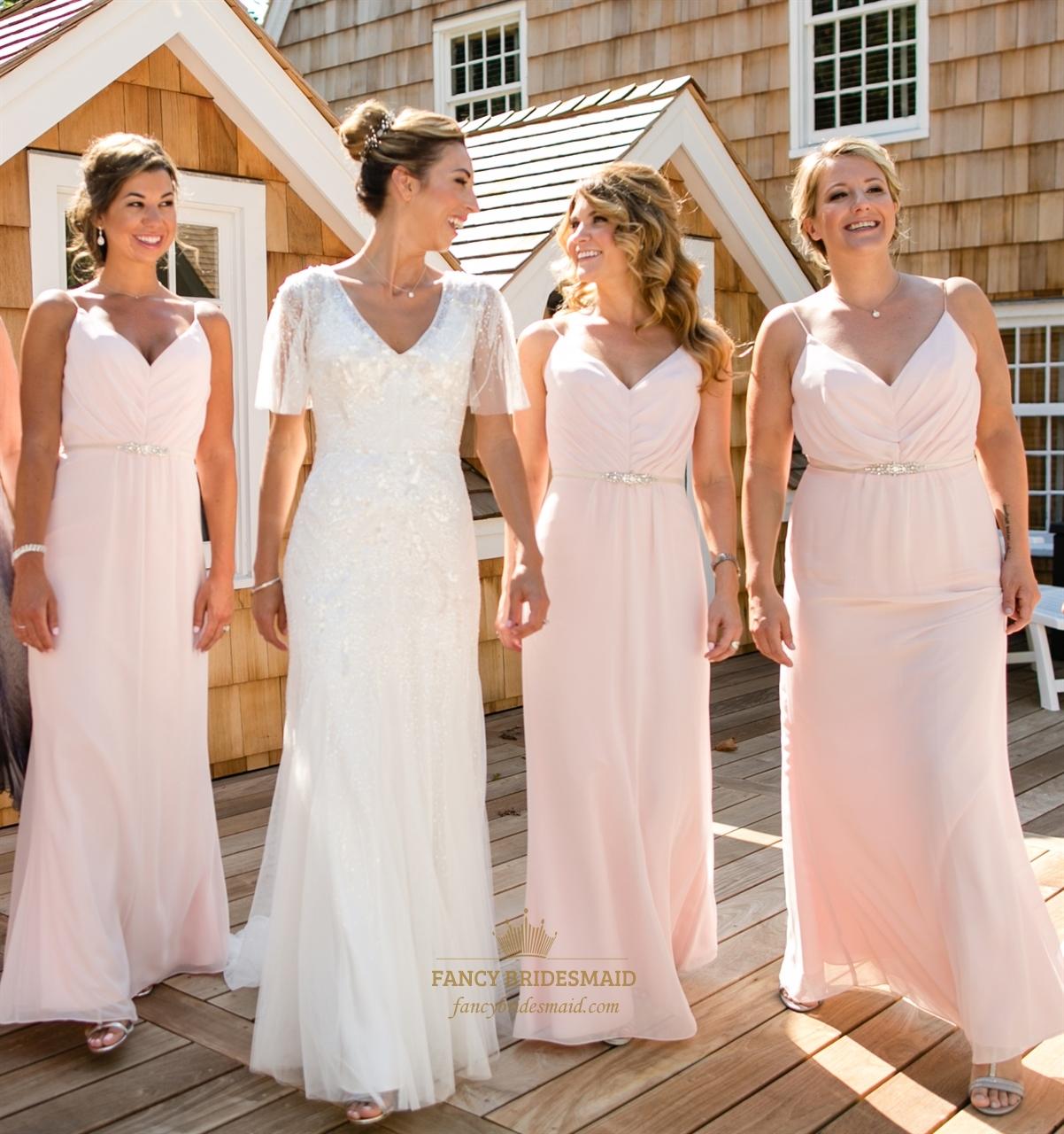 Floor Length Pearl Pink Bridesmaid Dresses