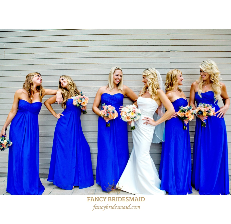 Royal Blue Strapless Empire Waist Floor Length Chiffon Bridesmaid Gown